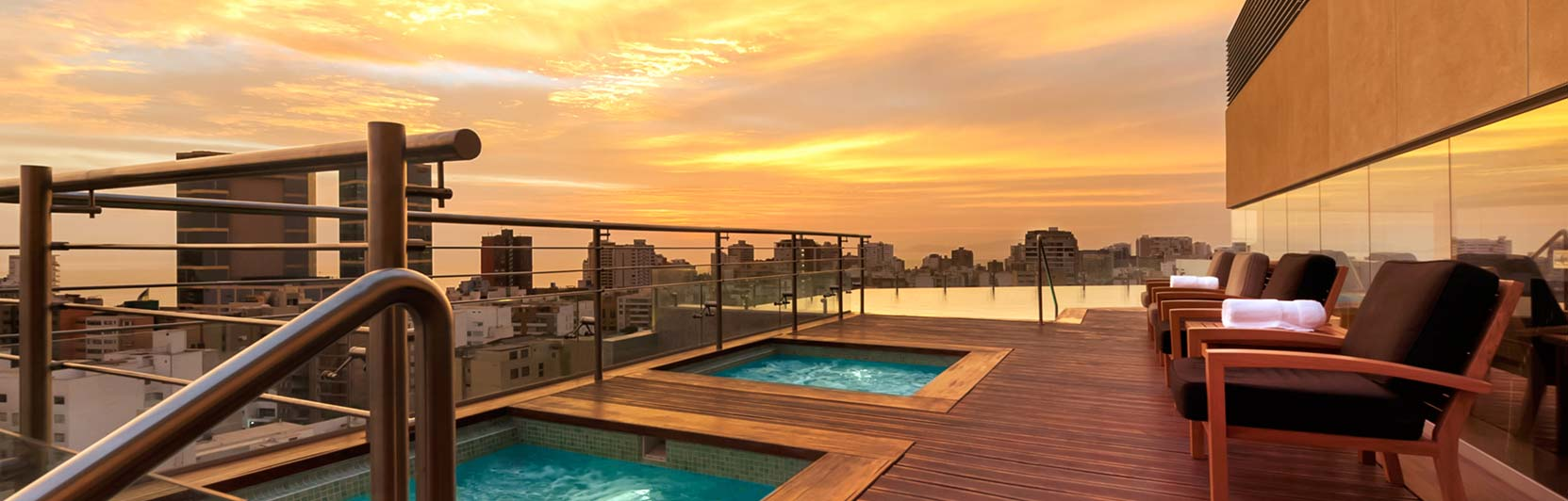 Hotel photography of rooftop pools at Hilton Lima Miraflores in Peru
