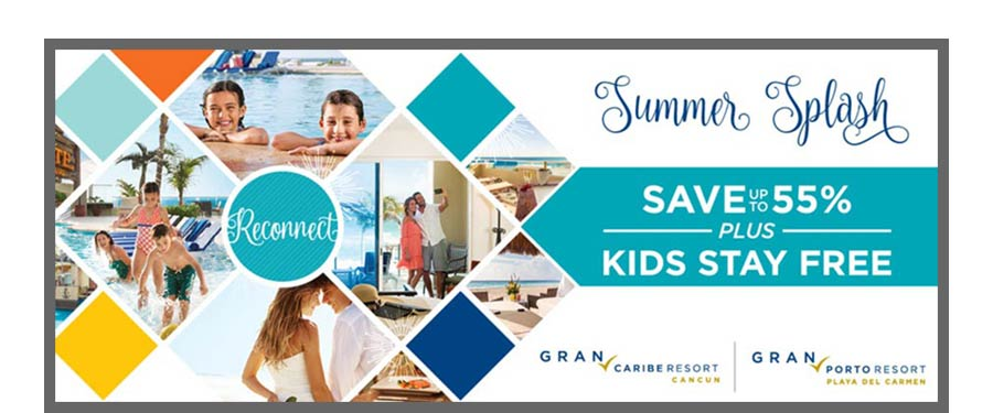Summer Splash banner advertisement for Playa Hotels and Resorts