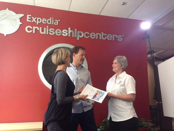 Behind the scenes of the filming of Expedia CruiseShipCenters 1 Day Sale promotion video
