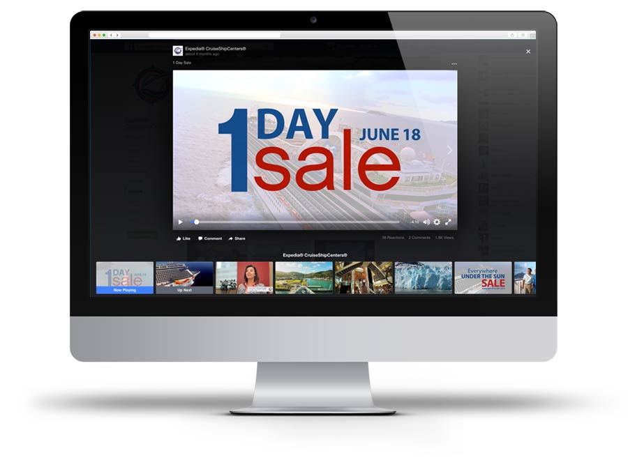 Screen Capture of Expedia CruiseShipCenters' 1 Day Sale promotion video on Facebook
