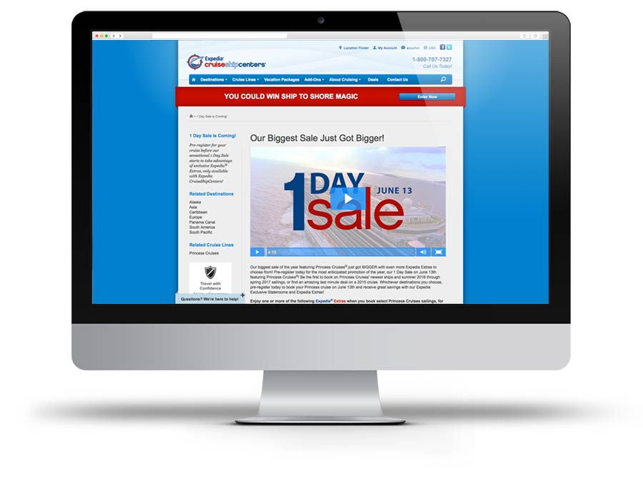 Screen Capture of 1 Day Sale promotion video on Expedia CruiseShipCenters' website
