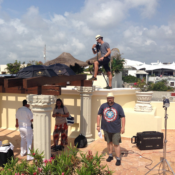Behind the scenes crew setting up for Playa Hotels and Resorts - Cancun lifestyle shoot