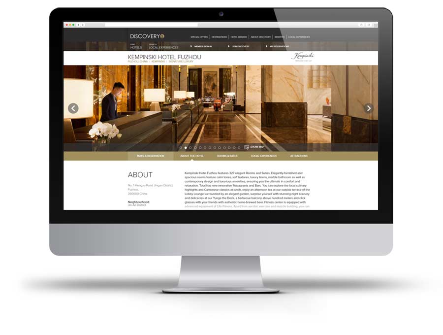 Kempinski Hotel Fuzhou website screen capture