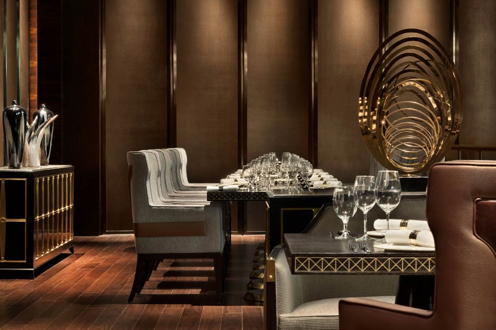 Architectural photography of Yunge Grill Restaurant dining area at Kempinski Hotel Fuzhou
