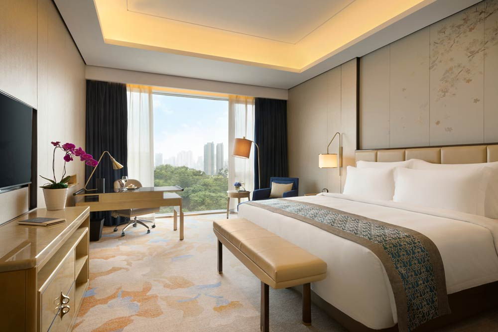Hotel photography of king bedroom at Kempinski Hotel Fuzhou