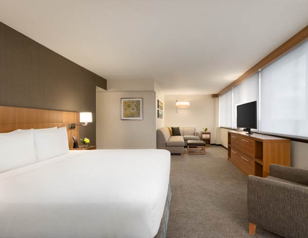 Hotel photography of the king suite at Hyatt Place Chicago O'Hare Hotel