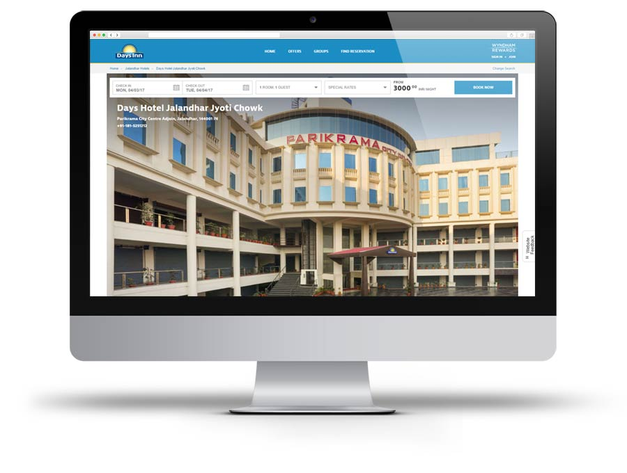 Screen capture of Days Inn website