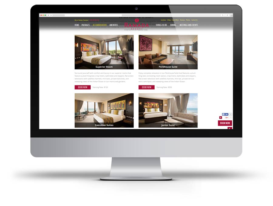 Screen capture of Ramada Resort website