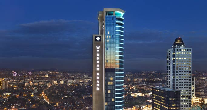 Architectural photography of the exterior of Wyndham Grand Istanbul Levent in Turkey
