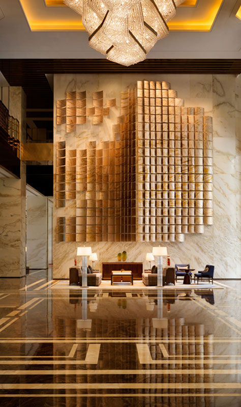 Architectural photography of the lobby at Kempinski Hotel Fuzhou