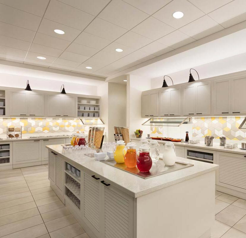 Architectural photography of the kitchen at Hyatt Place Chicago O'Hare
