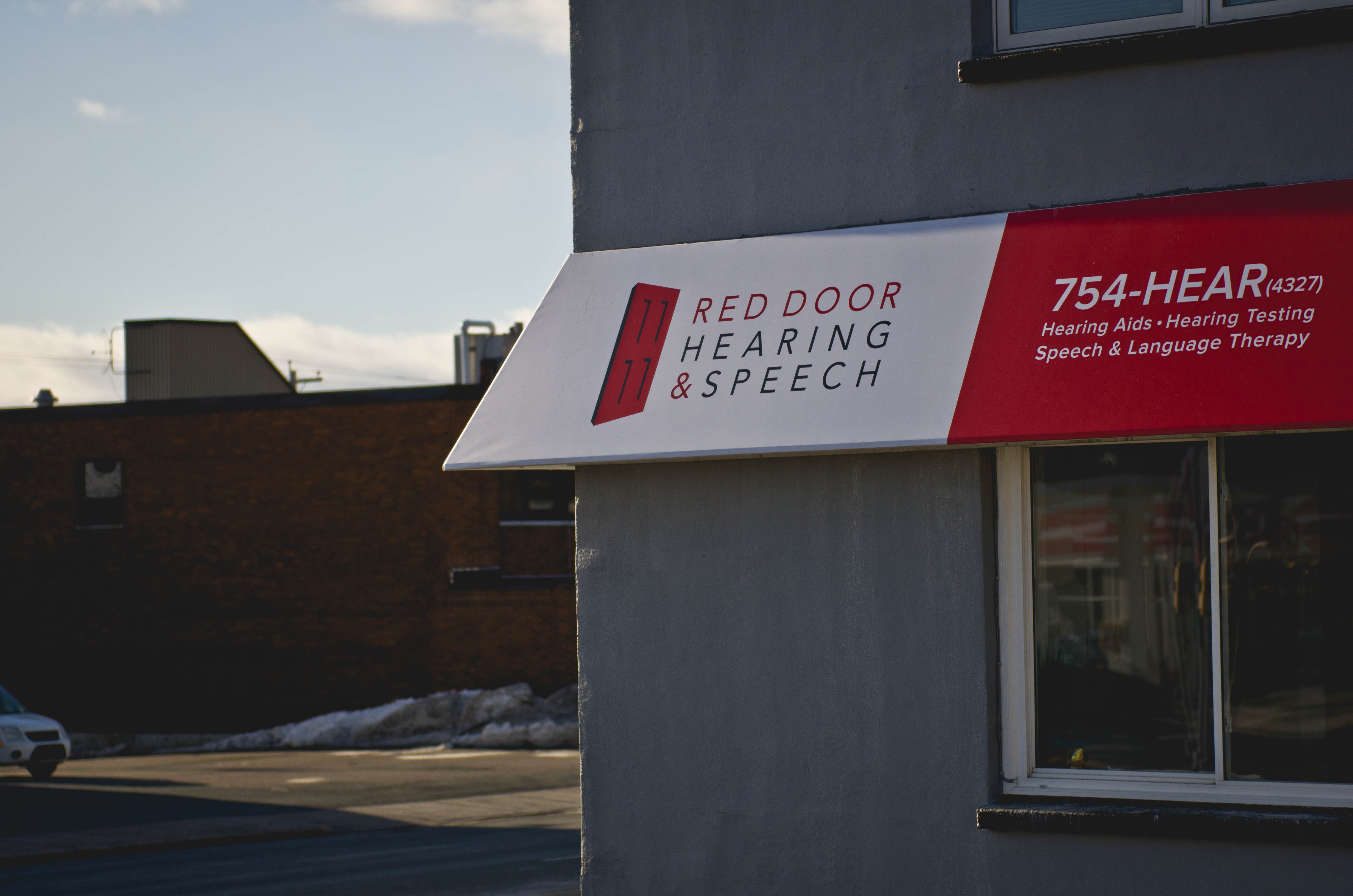 Red Door Hearing awning