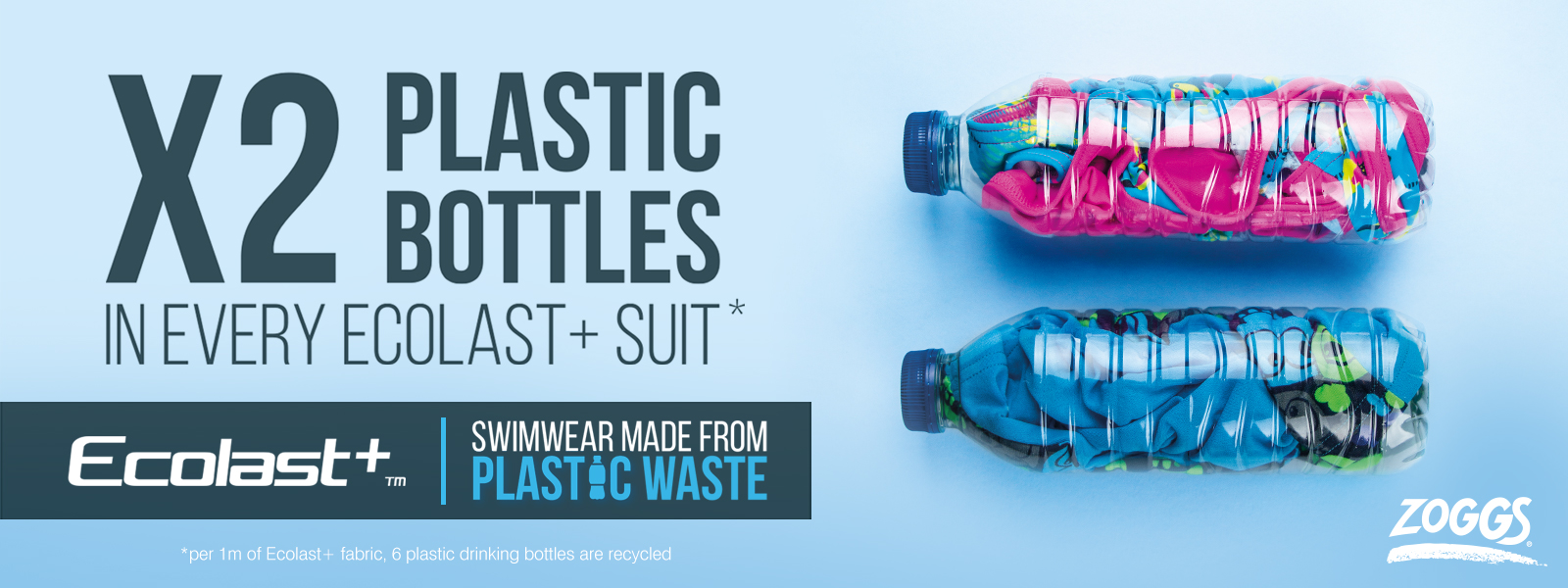 2X Plastic Bottles in every Zoggs Ecolast+ Suit