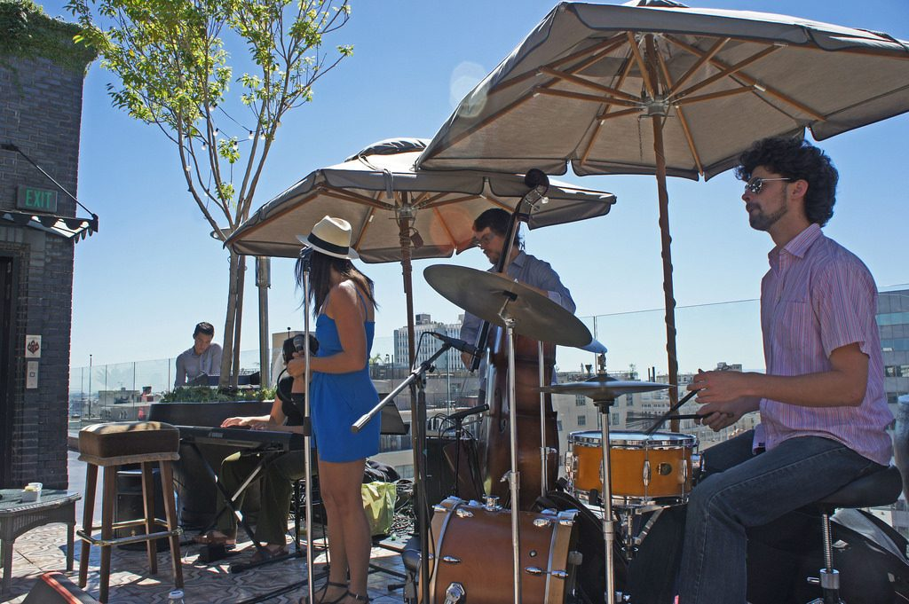 outdoor rooftop band performance