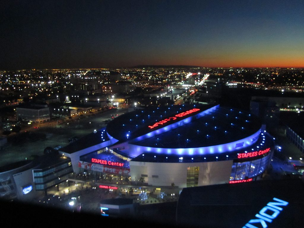 arial view of the staples center