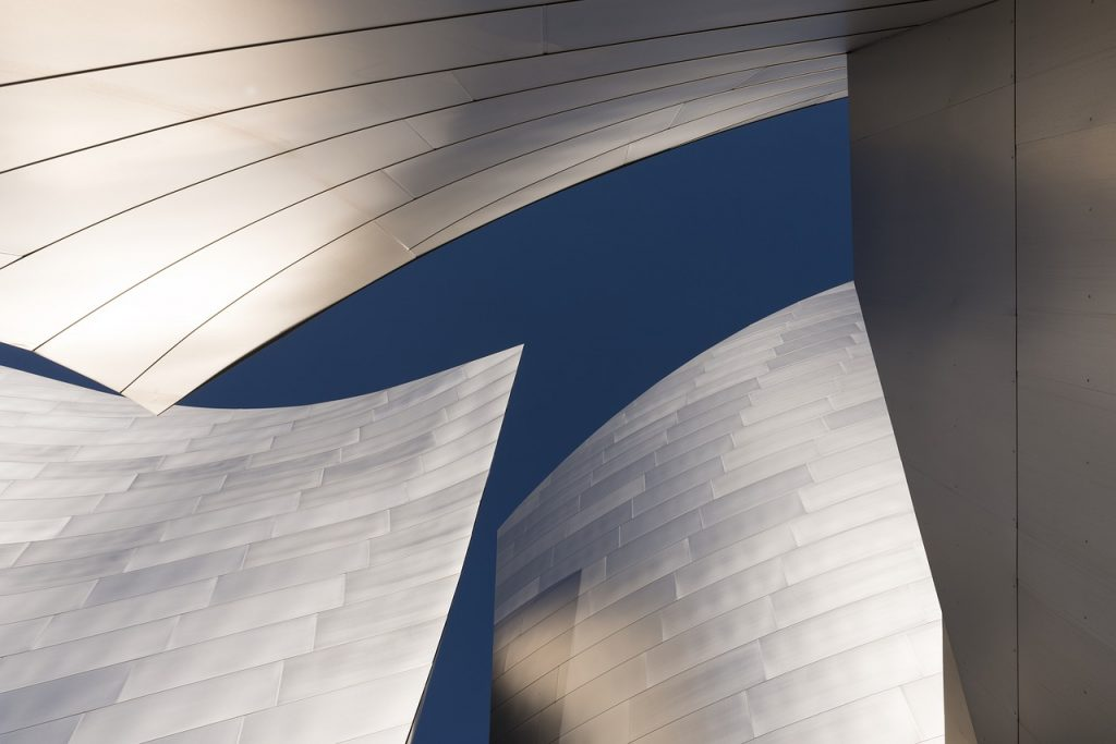 looking up at the disney concert hall