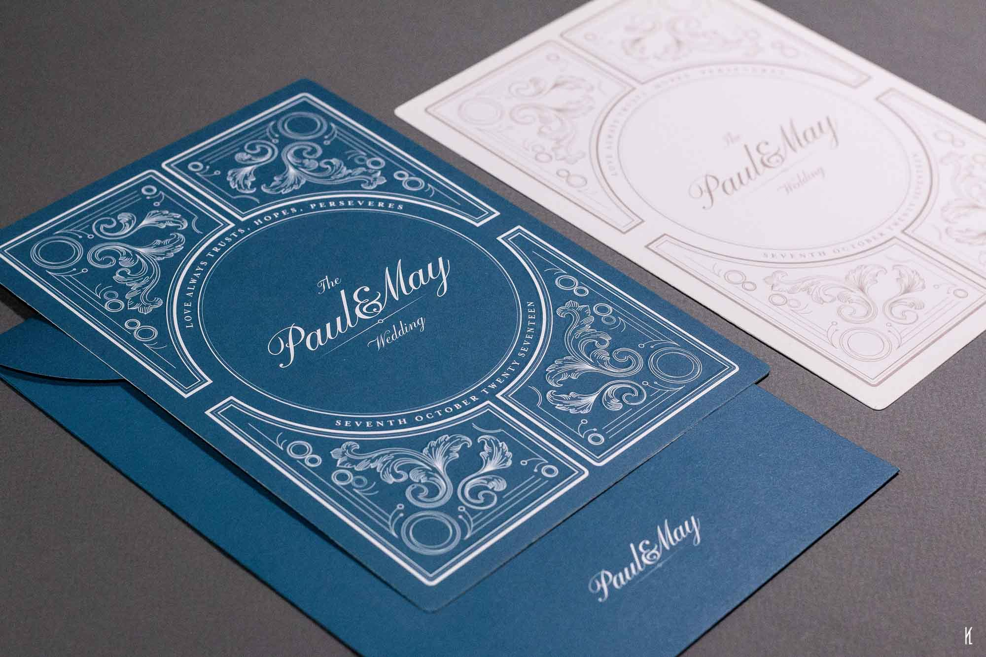 Classy wedding card design for Paul & May