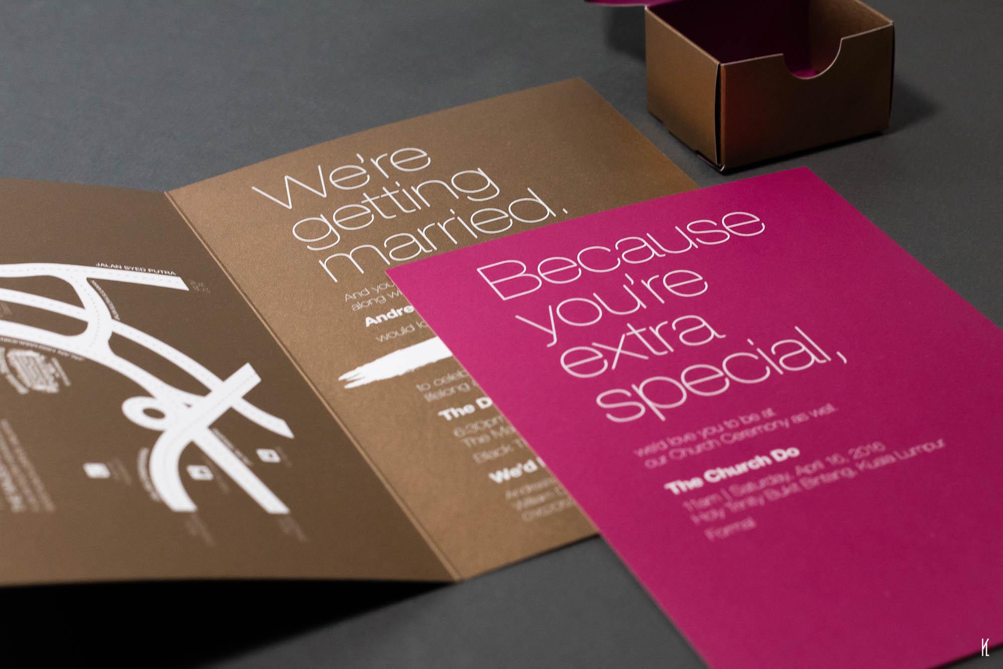Maroon/Gold wedding card & custom favour box design