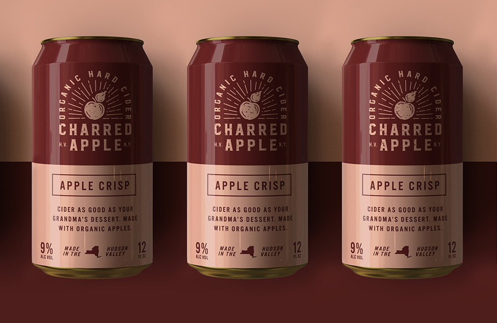Lineup of charred Apple Cans
