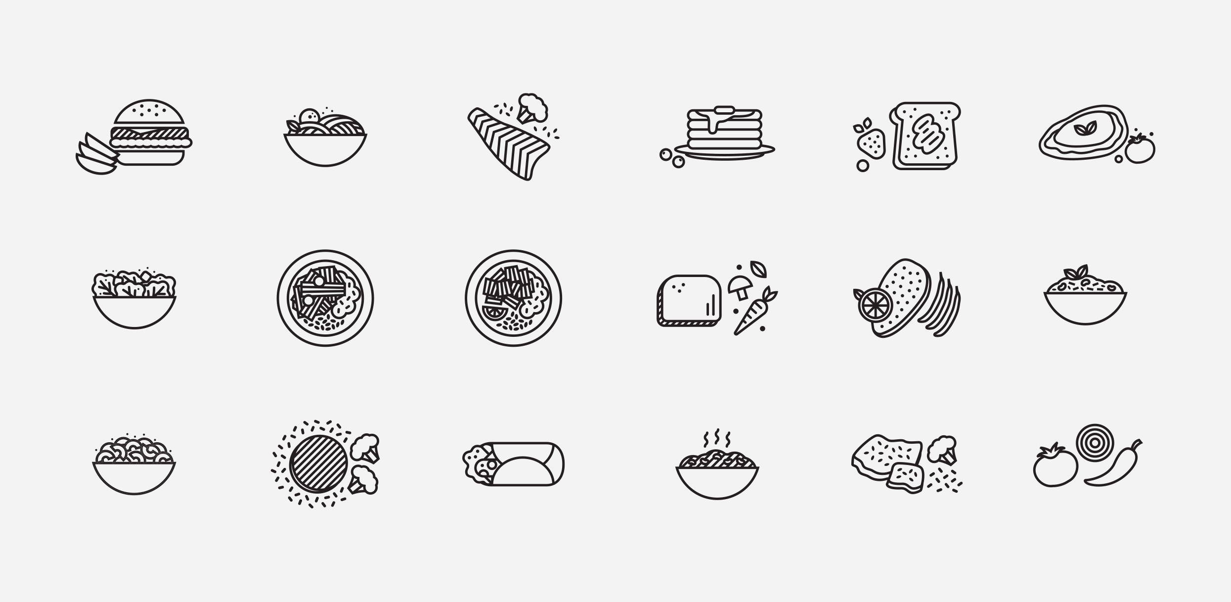 Iconography of various meals.