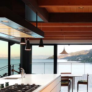 interior of residential kitchen with ocean view