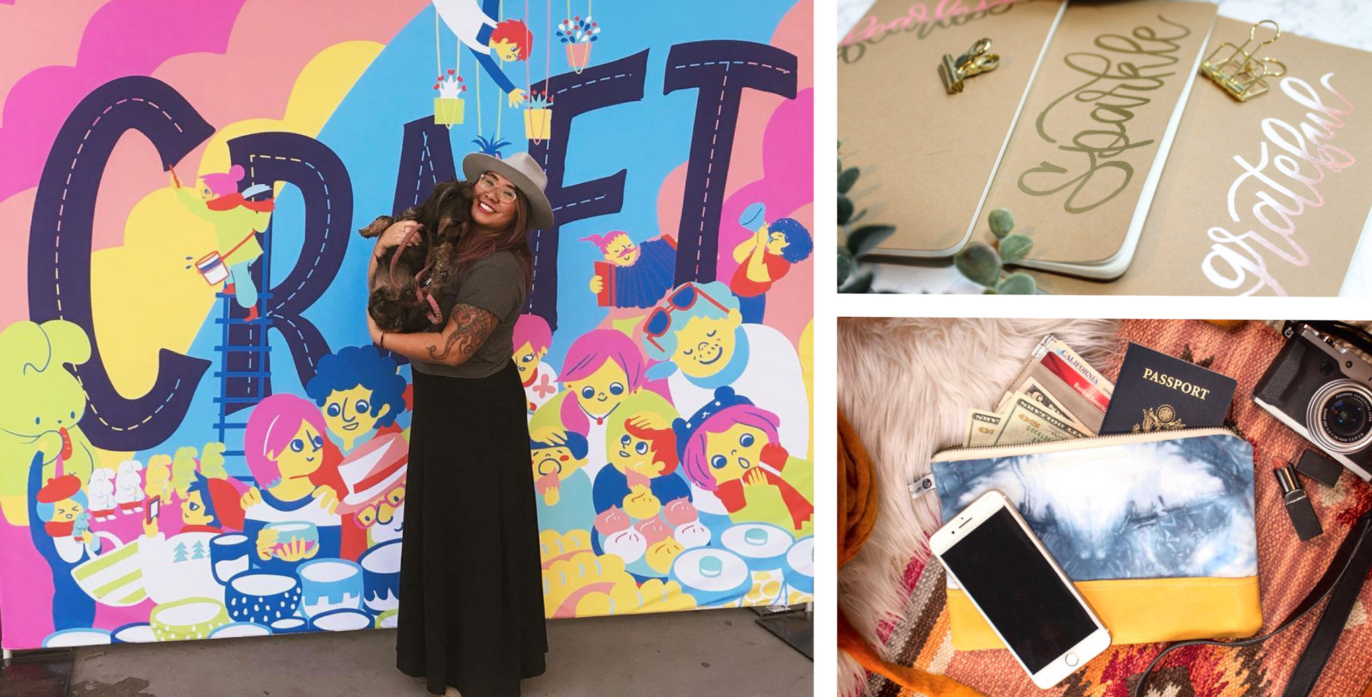 Angie, her custom hand lettering work, bobo design wallet