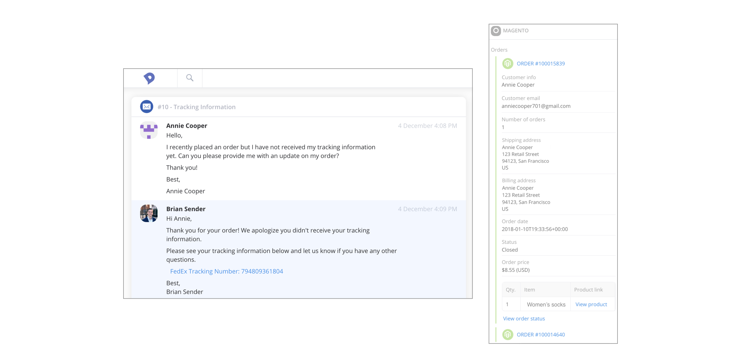 Example of our Magento customer service integration
