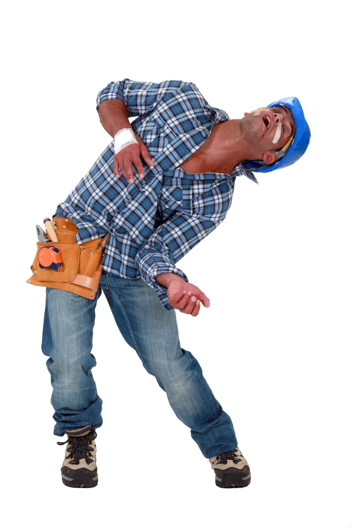 Construction guy in pain