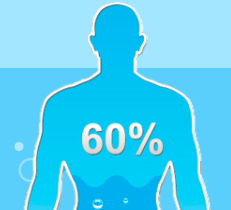 Guy filled with 60% water