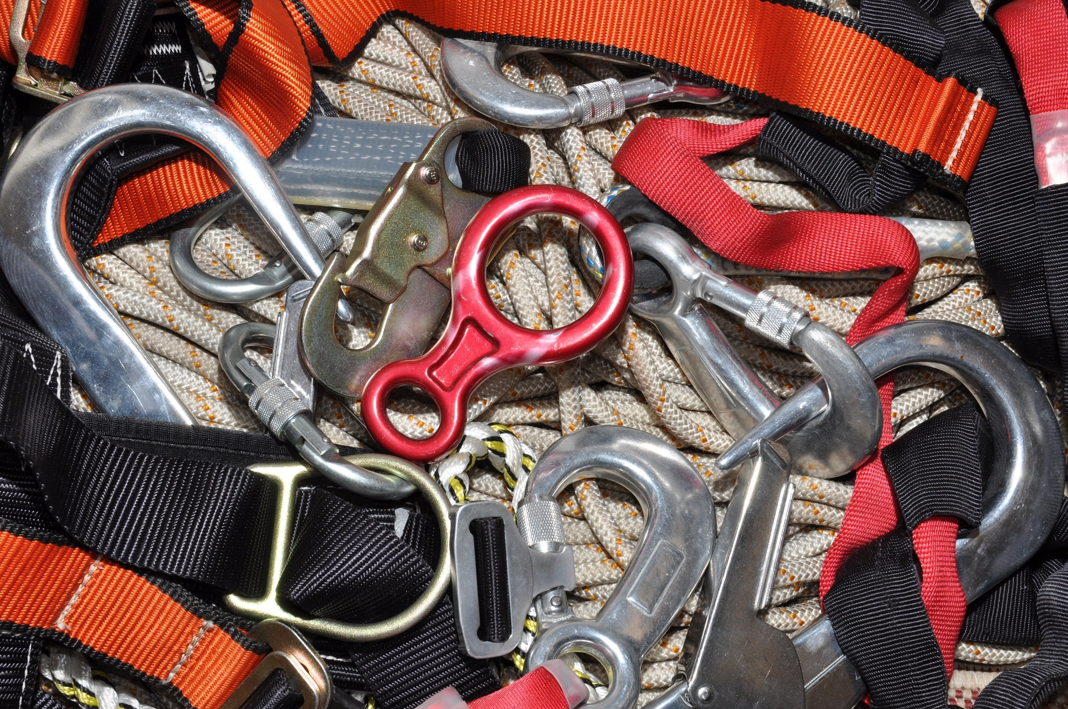 Pile of harnesses and safety equipment