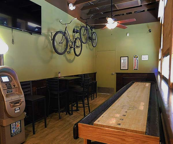 Photo of the shuffleboard area of a bar.