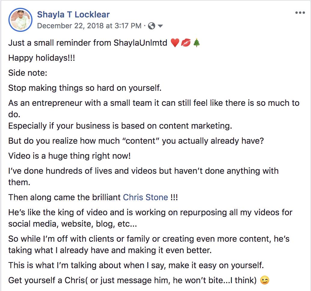 Shayla Locklear Testimonial