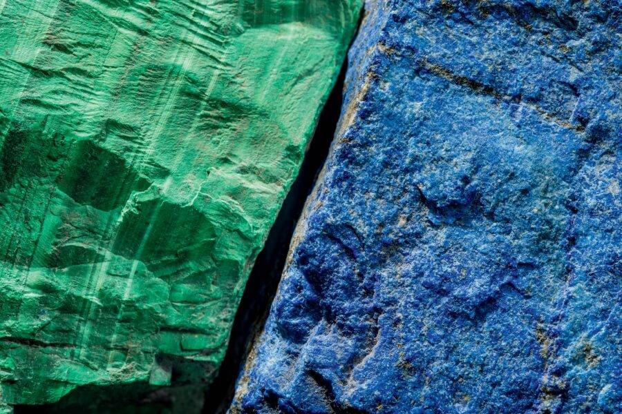 Ribbon Malachite and Afghan Lapis lazuli