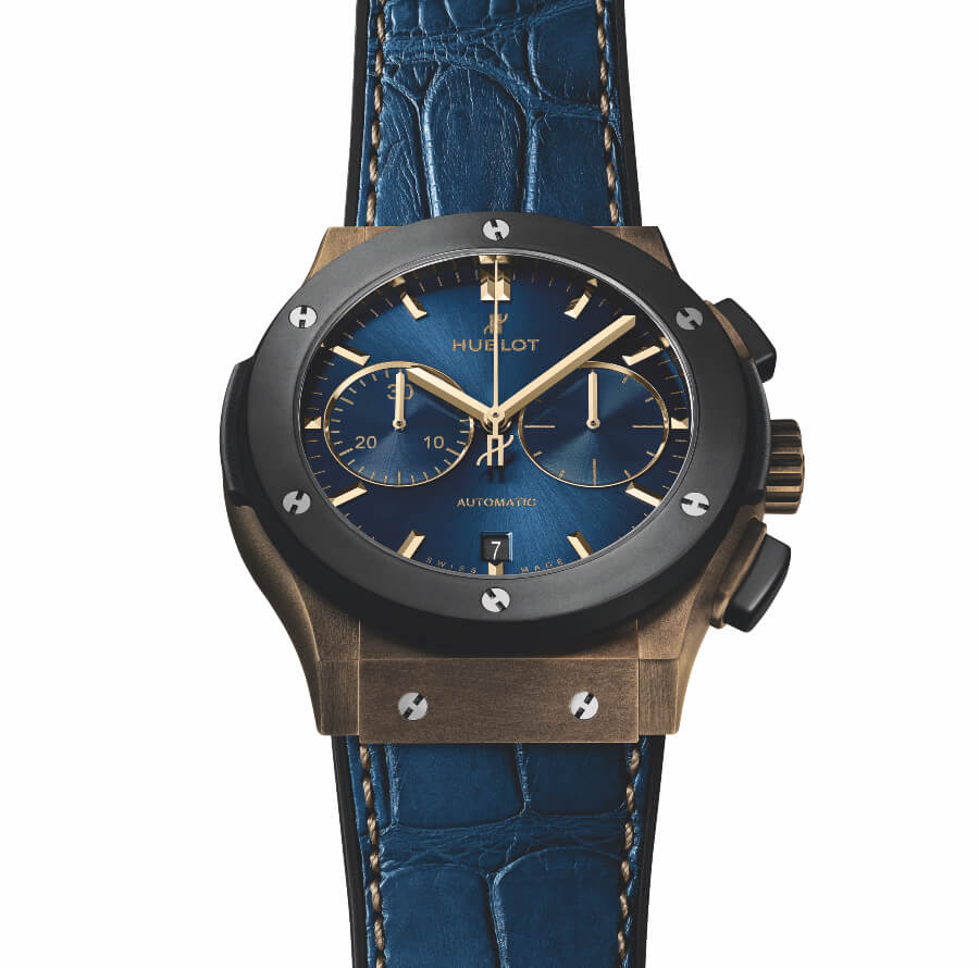 Hublot Classic Fusion 45mm Chronograph Bronze Bucherer Blue Edition