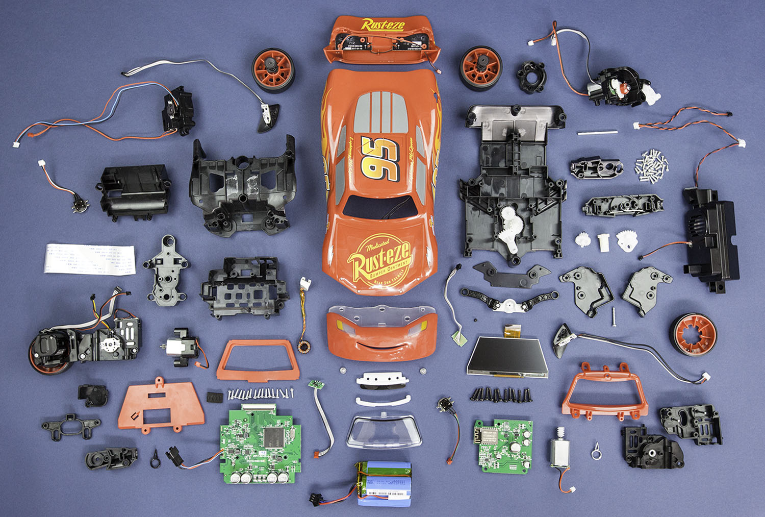 components inside Sphero ultimate lightning mcqueen race car robotic toy from teardown