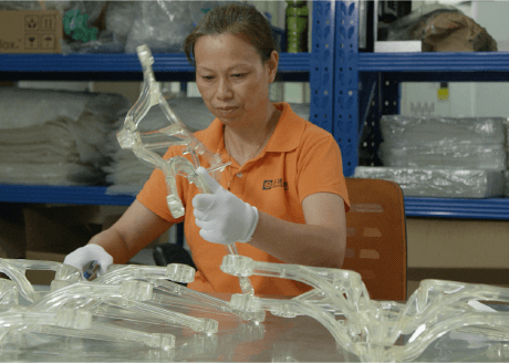 drone injection molded part in factory