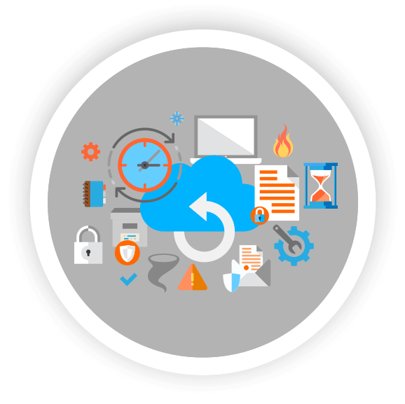 data backup and recovery image with backup icon and office elements