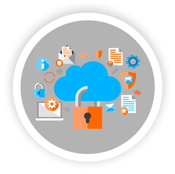 cloud computing image with office elements cloud and lock