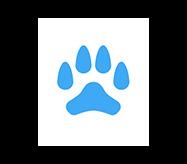 paw icon blue animal paw white background