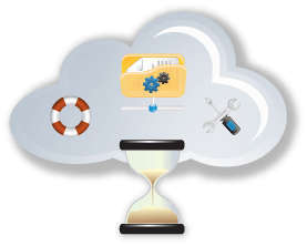 cloud with hourglass, files and tools