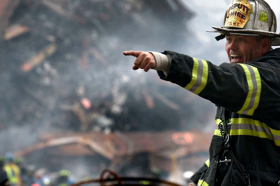 pointing fireman