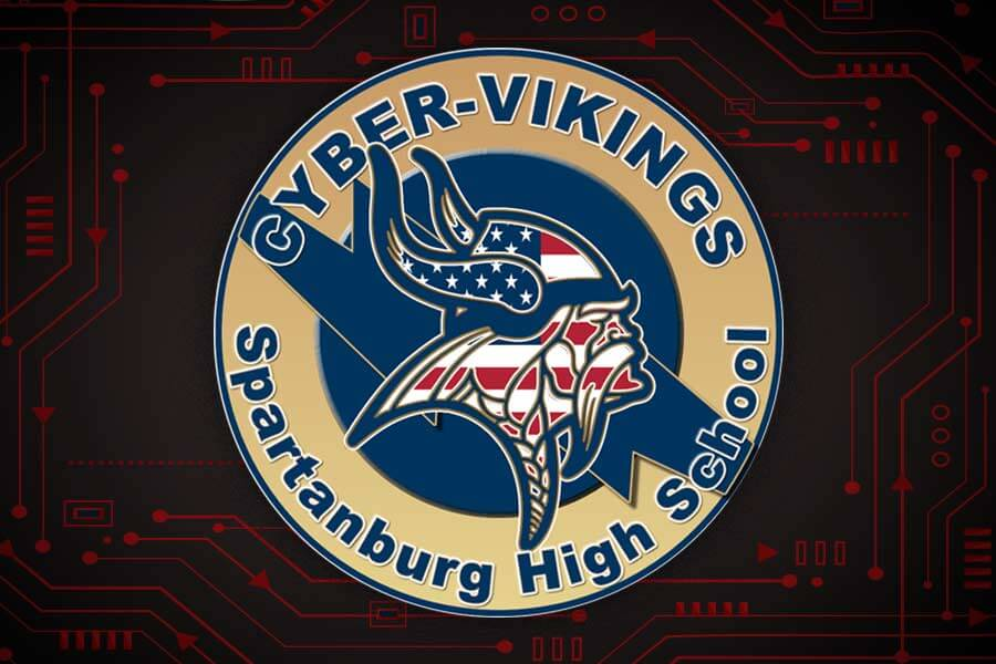 cyber viking logo on red circuit background