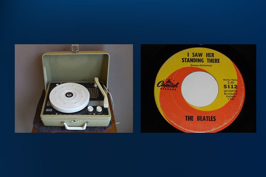 1960s record player and Beatles single