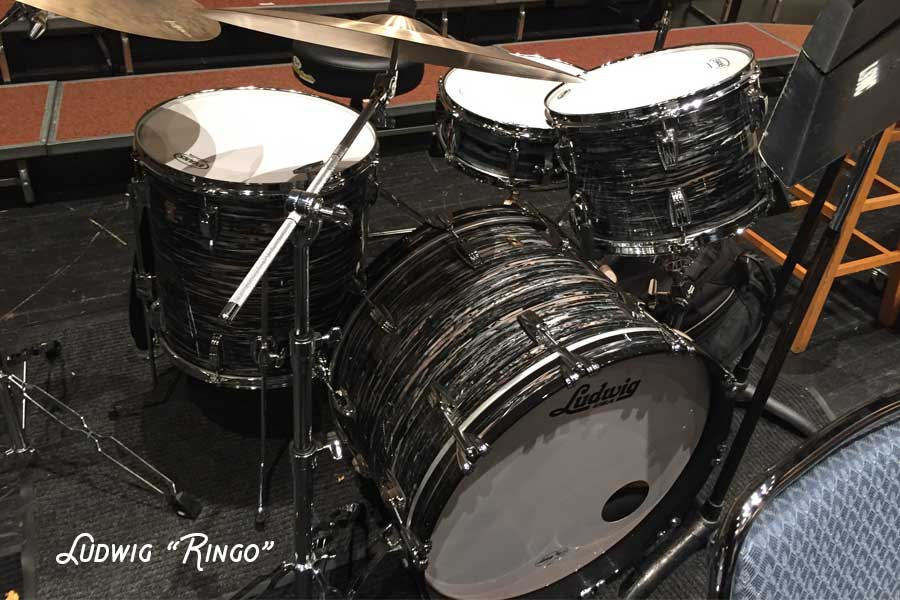 black and white Ludwig Ringo drum set
