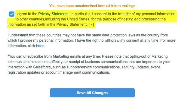 unsubscribe screenshot - salesforce