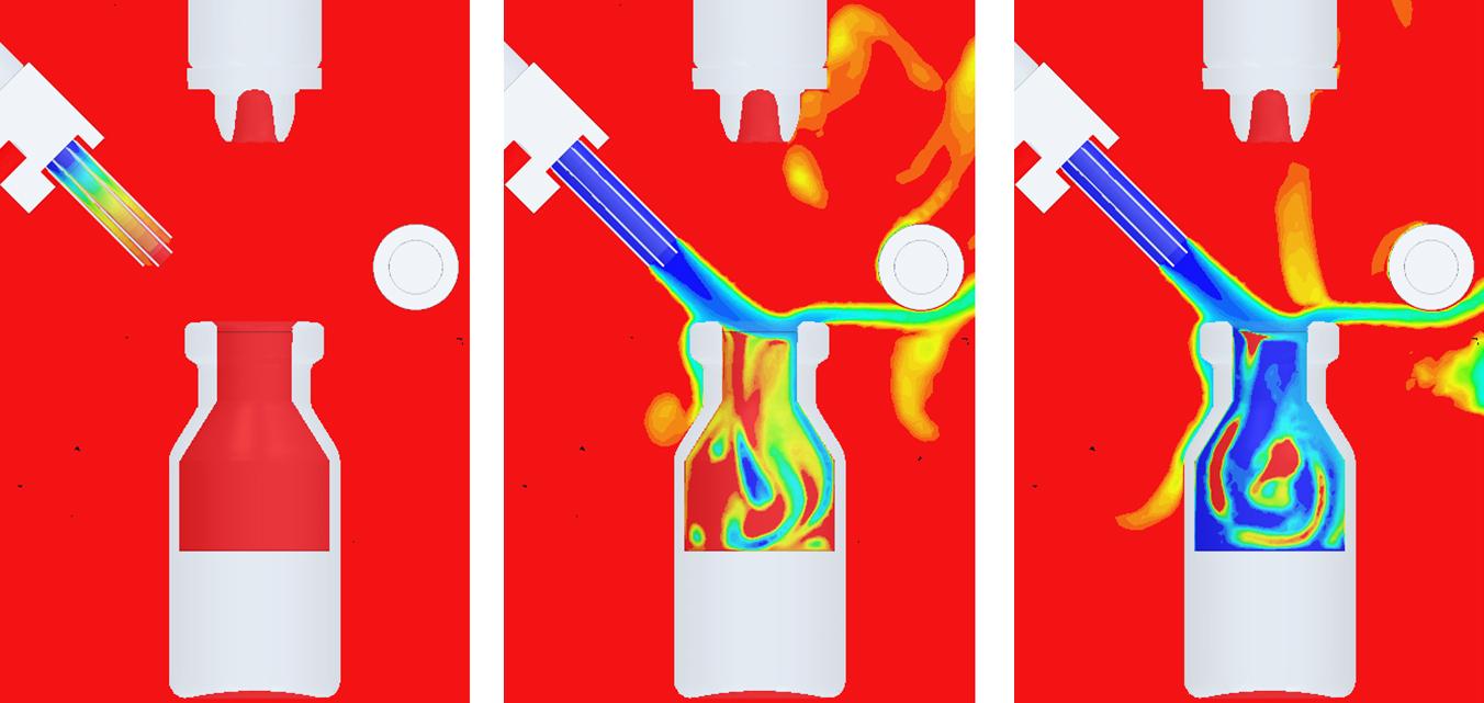 Strömungssimulation des Abfüllprozesses zeigt Verlauf des Sauerstoffstroms in Ampulle