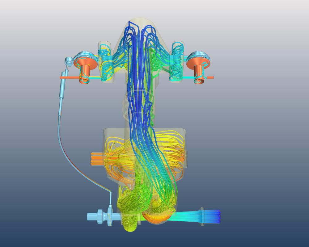 Strömungssimulation der Partikelbahnen und Darstellung der Abscheidekapazität
