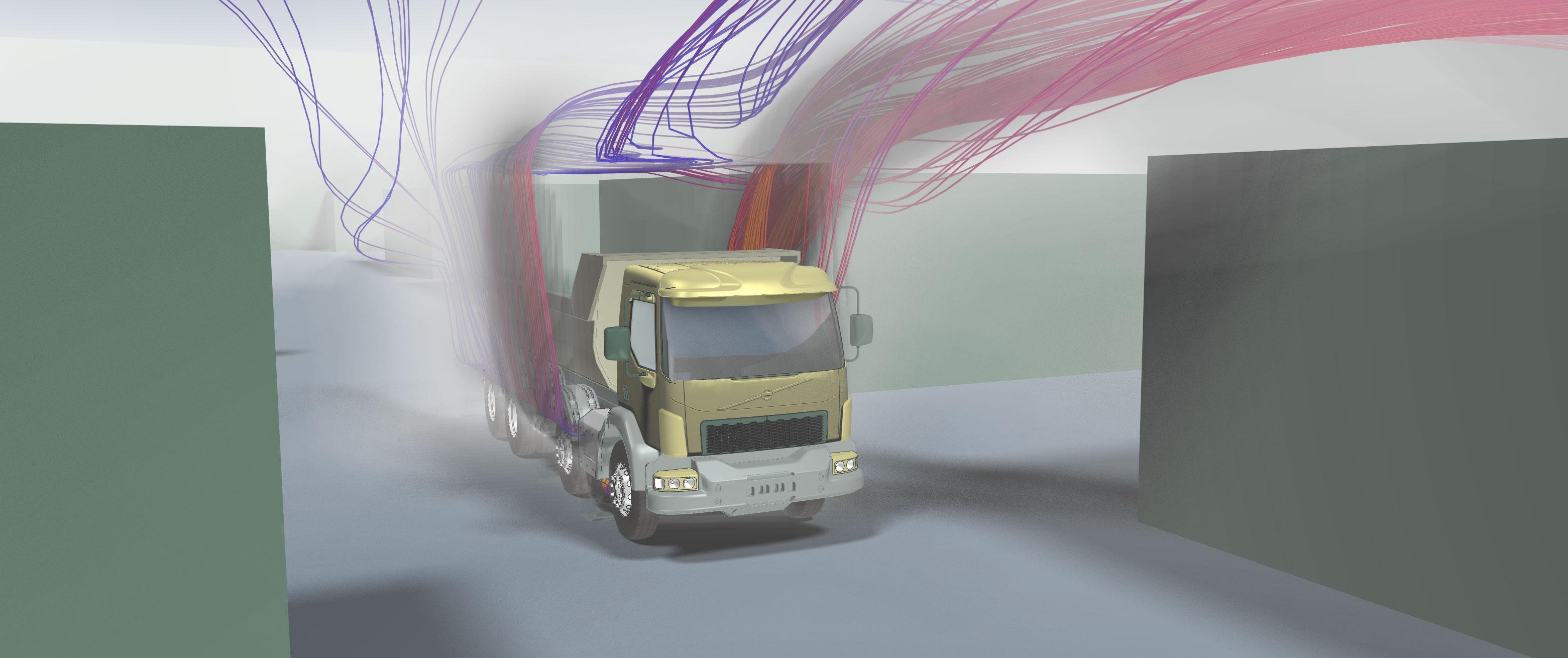 Strömungssimulation der Schadstoffverteilung in der Lagerhalle bei LKW-Durchfahrt