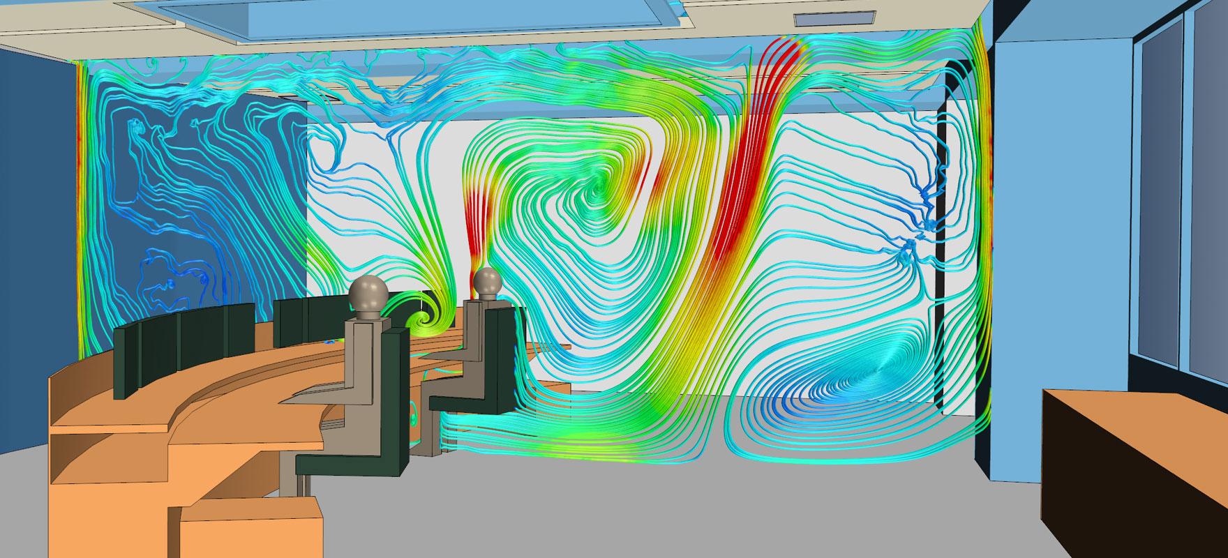 Strömungssimulation der Luftströmung am Arbeitsplatz zur Optimierung der Lüftungsanlage