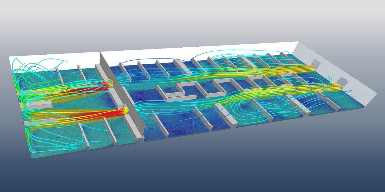 CFD-Simulation der Hallenbelüftung einer Lagerhalle mit Simulation des Partikelverhaltens